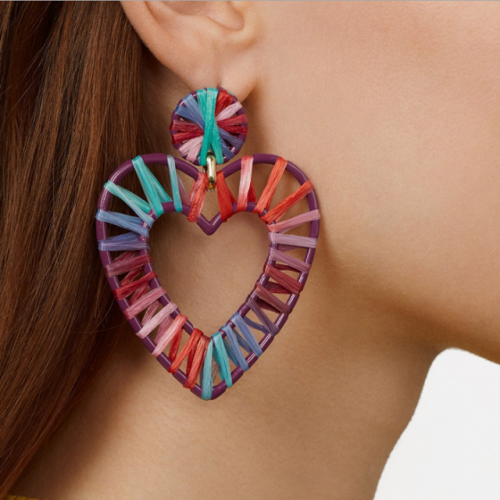 New European and American big name earrings jewelry hollow alloy section dyed color lafite woven heart-shaped earrings