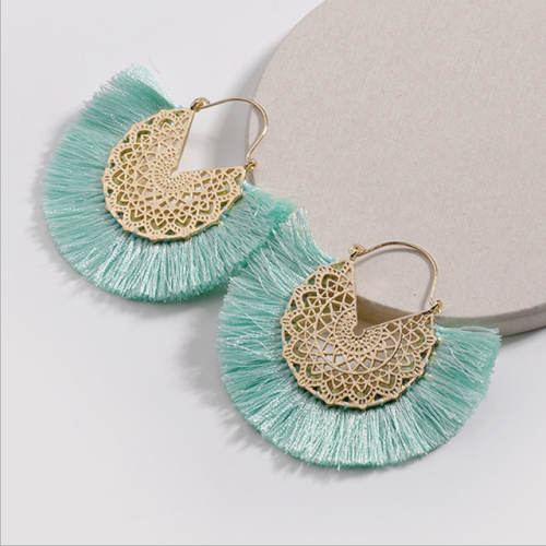 New European and American hollowed-out alloy silk tassel earrings  S.O.S.K 2019/8/5 16:19:04
