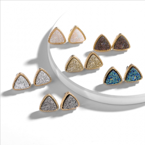 BBB 0 resin alloy geometric triangle crystal tooth natural stone lady type ear nail