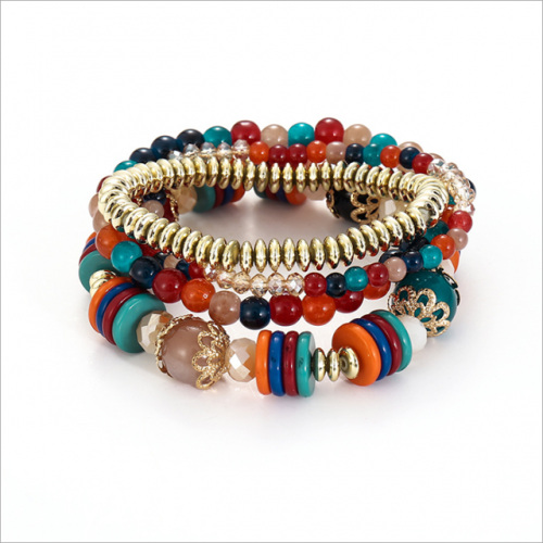Hot selling metal abacus beads acrylic hand string women's Bohemian multi-layer bracelet set