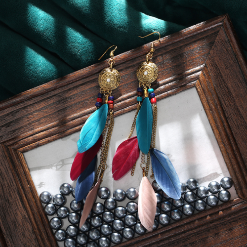 European and American vintage chain tassel earrings multi-layer Bohemian feather accessories long earring