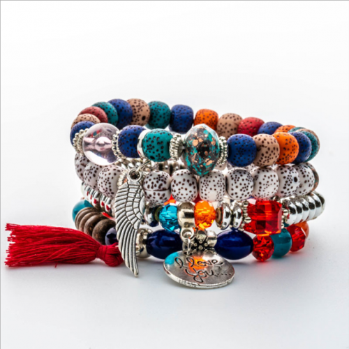 Bohemian cross-border hot style accessories multi-layer rice bead bracelet volcanic stone bracelet jewelry
