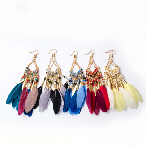 Fan-shaped fringed feather earrings with long Bohemian rice bead European and American earring cross-border hot style accessory