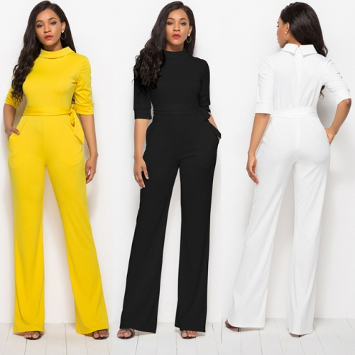 Autumn for classic hot hot style European and American sexy solid color half sleeve jumpsuit