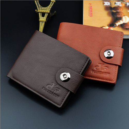 Manufacturers direct new men's short wallet magnetic buckle wallet leisure men's wallet