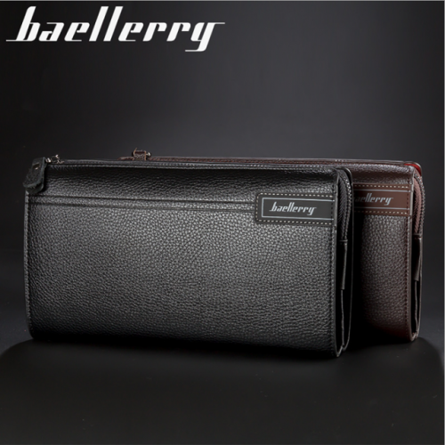 Baellerry new men's clutch business casual large capacity lychee print zipper clutch purse