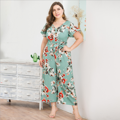 New style lace-up high-waisted, short-sleeved, v-neck, wide-leg, plus-size printed one-piece nine-point pants