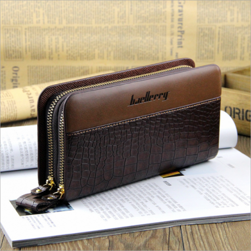 European and American style man purse long double zipper clutch bag mobile phone bag man clutch bag