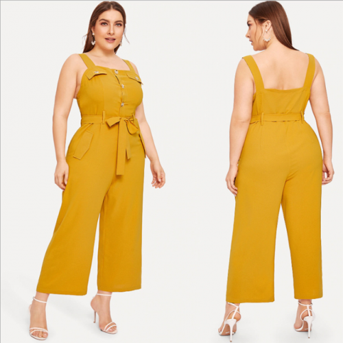 Summer new plus-size women's one-word collar strap waist belt wide leg casual jumpsuit