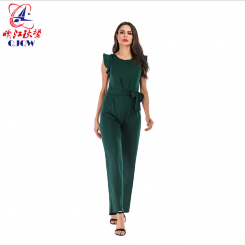 Female style loose tie belt romper Europe and the United States sleeveless flounce romper casual pants