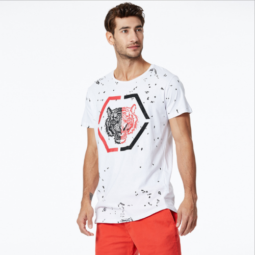 Men's cotton round collar animal print hot drill point short sleeve T-shirt