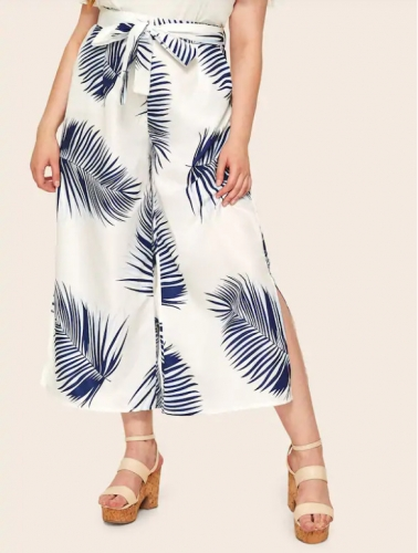 New plus-size women's loose-fitting printed wide-leg trousers