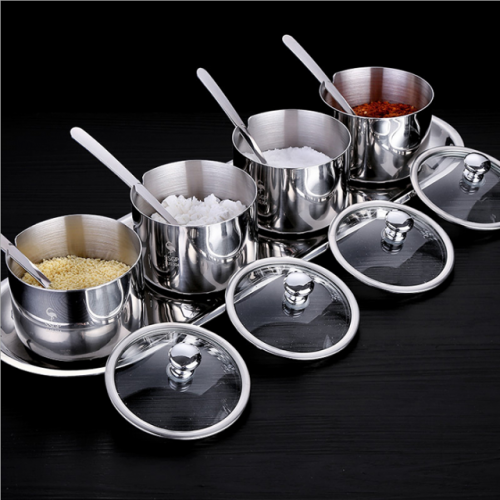Stainless steel seasoning container set with round seasoning container