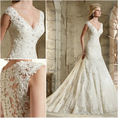 Autumn winter new fund Europe and the United States fashion contracted wedding dress shoulder deep V fishtail lace back wedding dress