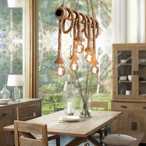 American retro bamboo tube hemp rope chandelier restaurant living room clothing shop coffee shop individual window bar chandelier
