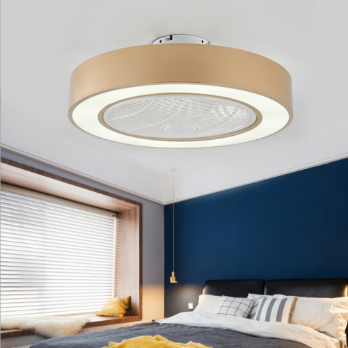 New intelligent fan lamp bedroom living room modern simple ceiling remote control ancient town fan lamp