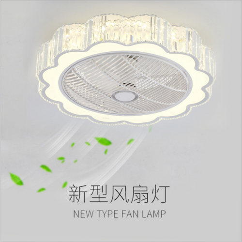 Led Crystal Fan ceiling Lamp Intelligent third Speed dimming and Air adjusting remote Control bedroom Lamp Round Modern simple Lamp