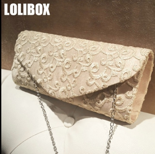 LOLIBOX new hollowed-out embroidery lace gold thread dinner girl bag with a slanting cross-chain dress party bag in hand