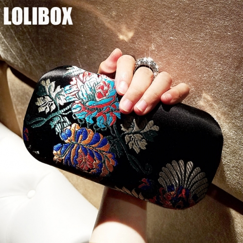 LOLIBOX custom satin retro flower embroidery lady with water diamond ring evening banquet bag cheongsam banquet bag