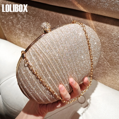 LOLIBOX self-made sparkling powder wrinkled goose egg diamond girl bag with bag slanting across evening party dress bag