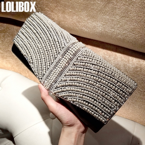 LOLIBOX custom high grade pearl diamond set diamond flash woman holding bag oblique cross bag dinner party dress bag