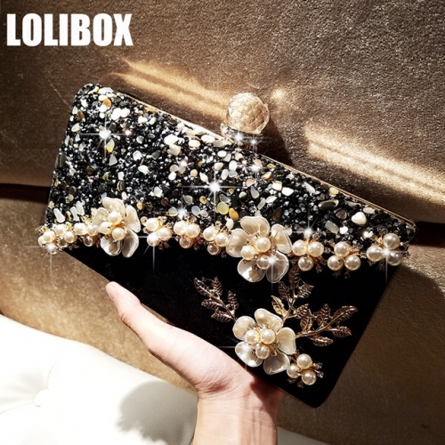 LOLIBOX self-made natural small stone acrylic pearl flower water drill handmade woman with bag evening party bag