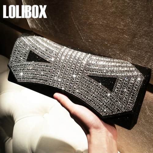 LOLIBOX custom water drill bow flash hand bag dinner bag chain slanting cross dress party bag