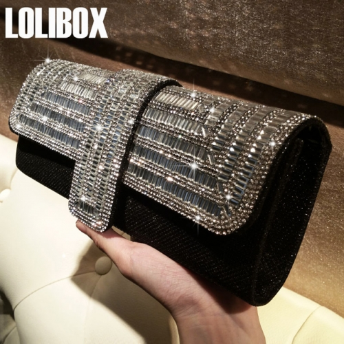 LOLIBOX custom water diamond flash girl with bag chain slanting dinner dress bag bride party bag