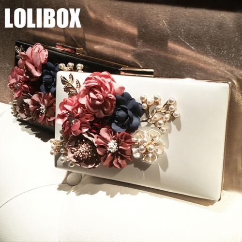 LOLIBOX customized new handmade flowers, pearls, diamonds, women's banquet, small hands, dinner gowns, oblique straddle bags.
