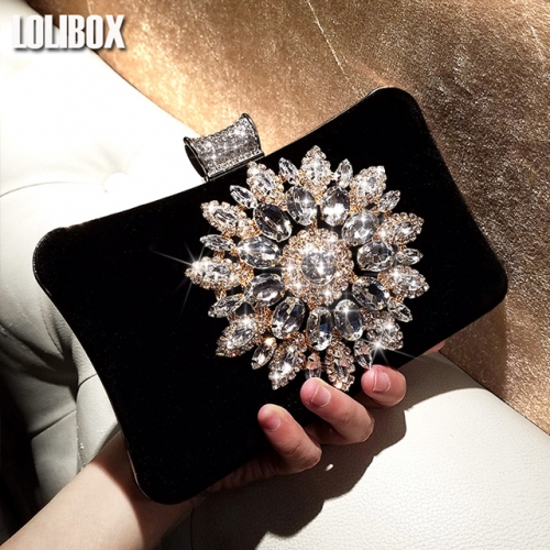 LOLIBOX homemade Diamond Sunflower Super Flash drill imported Velvet hand bag Girl Dinner will straddle the bag
