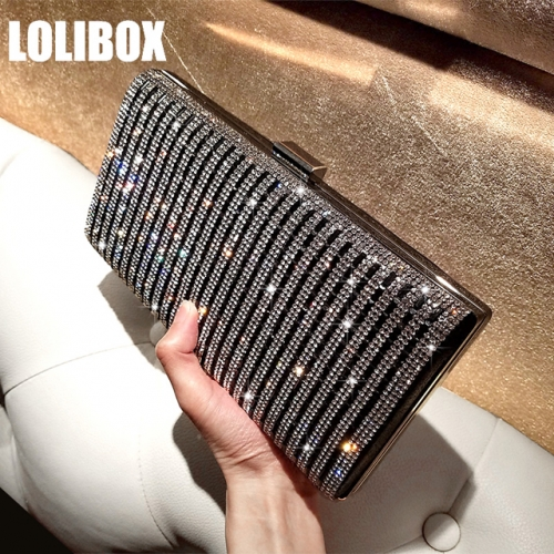 LOLIBOX custom super flash diamond striped diamond square box female bag with oblique cross bag dinner party dress bag
