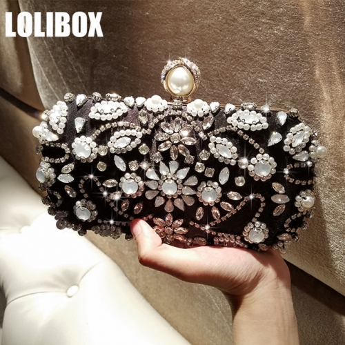 LOLIBOX self-made hand-sewn drill cat's eye water drill flower pearl girl dinner hand bag chain party bag