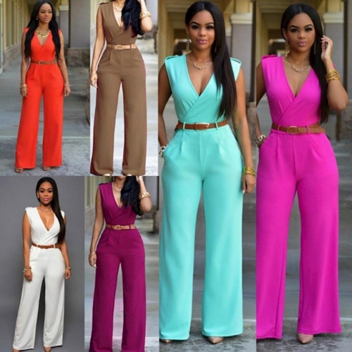 Summer jumpsuit women wide leg pants