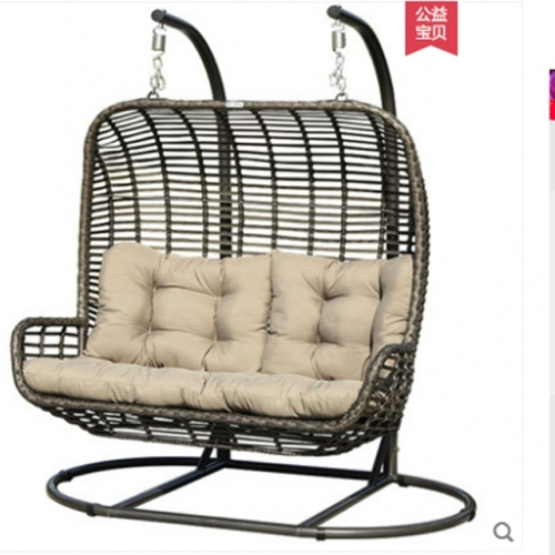 Balcony swing rattan chair hanging chair outdoor courtyard household iron swing basket chair
