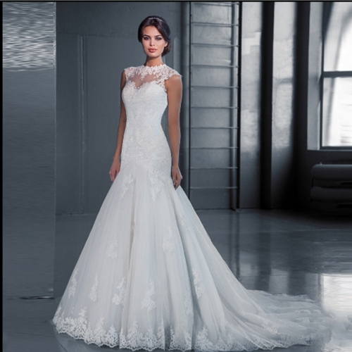New wedding dress high collar lace slim fish tail wedding dress large size custom slim model