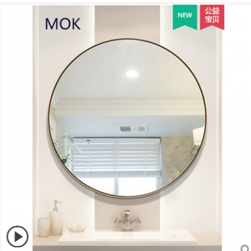 Stainless steel round bathroom mirror brass gold wall cosmetic mirror hanging wall type