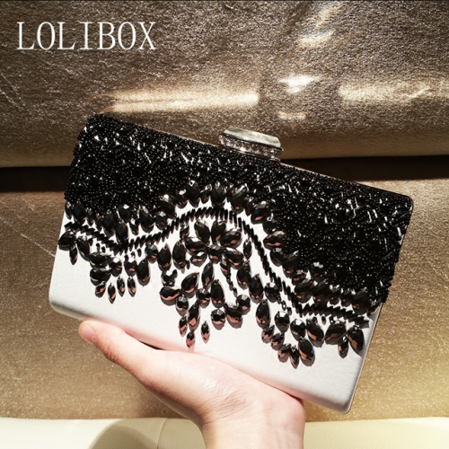 LOLIBOX custom handmade pearl embroidery dinner bag black and white embroidered women's bag bride bag with slanting handbag