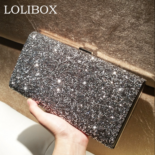 LOLIBOX custom water drill shiny hand bag dinner bag European and American high-grade banquet box slanting across the little girl's bag