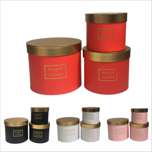 High-grade gold splicing round holding bucket flower box three-piece flower gift box packing box