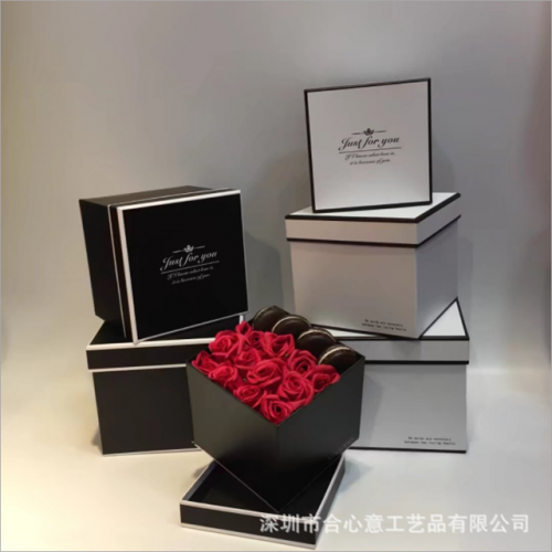 Fashion simple square gift box three sets of flowers immortal flowers soap flowers gift box