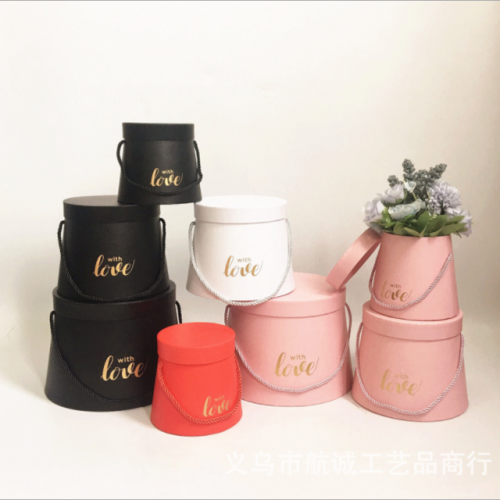 New solid color conical immortal flower decoration gift box hemp rope hand-held Valentine's Day surprise gift box