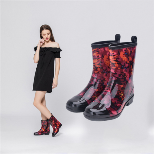 European and American women's fashion boots in the tube rain boots anti-skid wear-resistant waterproof women's rain shoes