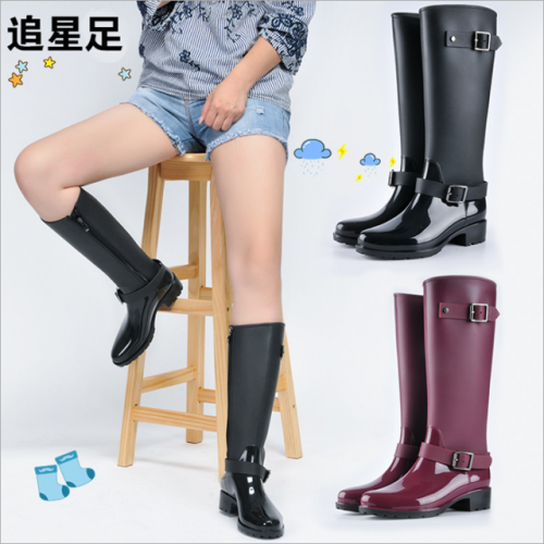 New fashion waterproof rain boots non-skid long tube water shoes high tube adult water boots female zipper riding boots