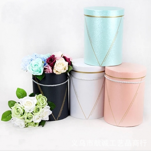 Bronzing flow line three-piece gift box cylinder hugging bucket flower gift box portable gift box