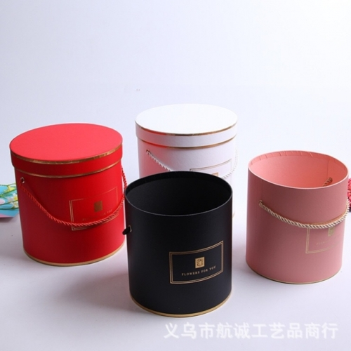 Round three-piece set hugging bucket flower gift box hemp rope bronzing portable gift box wedding candy with hand gift box
