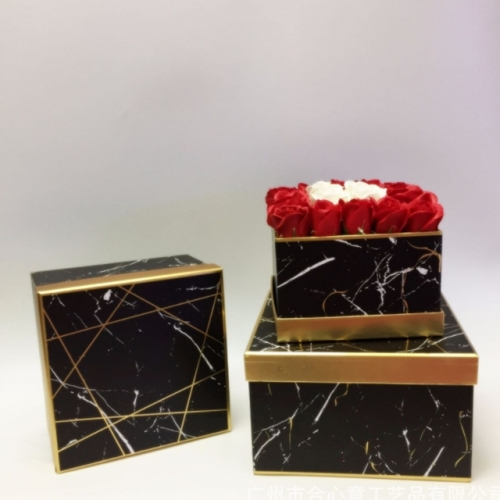 Gold bronzing marble square flowers holding bucket three-piece flower box gift box