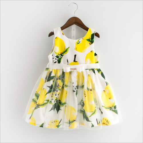 Girls' summer gauze dress lemon printed back skirt