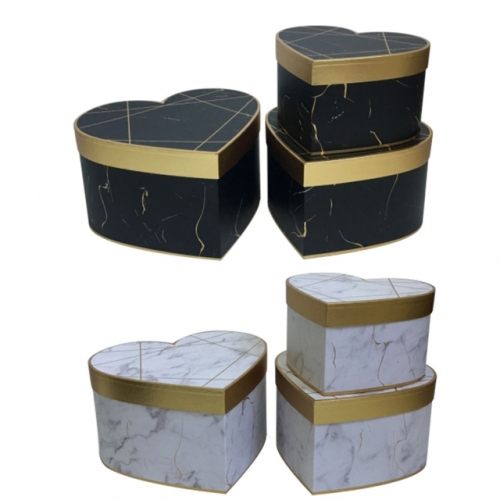 Gilded marble heart-shaped flower hug bucket three-piece flower box gift box