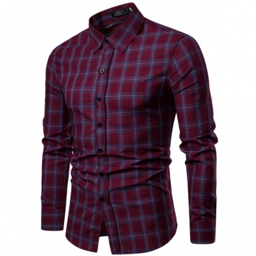Korean version of slim men's plaid casual long-sleeved shirt