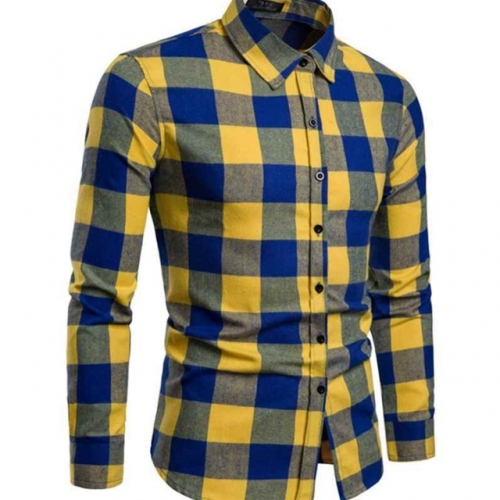 Men's flannel plaid shirt casual long sleeve shirts